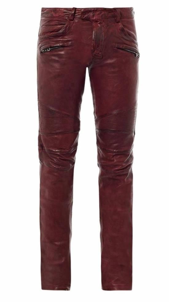 Balmain Balmain Burgundy Lamb Leather Biker Pants Size: 28-XS Size US 28 / EU 44 - 1