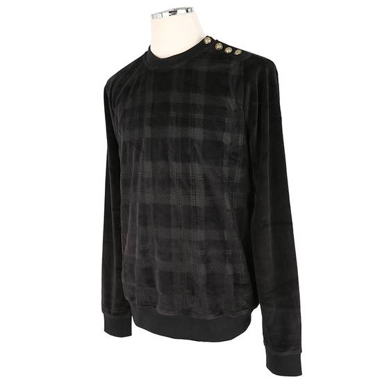 Balmain Size Small - Checked Button Shoulder Sweatshirt- FW16 - $1050 Retail Size US S / EU 44-46 / 1 - 14