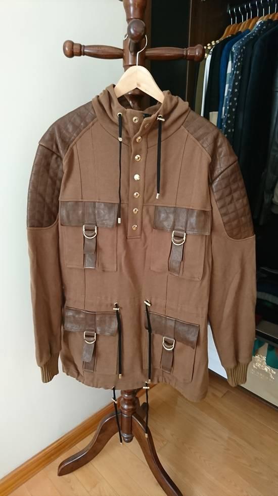 Balmain Brown quilted lamb leather trim hoodie/parka hybrid Size US L / EU 52-54 / 3
