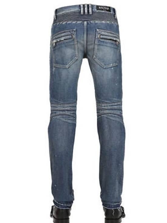 Balmain Balmain Painted Denim Blue Biker Authentic $1490 Jeans Size 27 New Size US 27 - 4