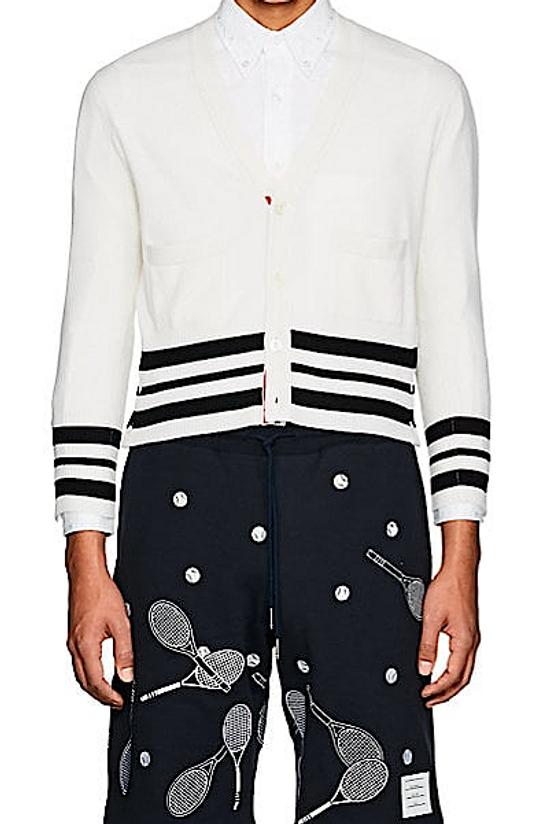 Thom Browne Cricket-Striped Cashmere Cardigan NEW Size US XL / EU 56 / 4