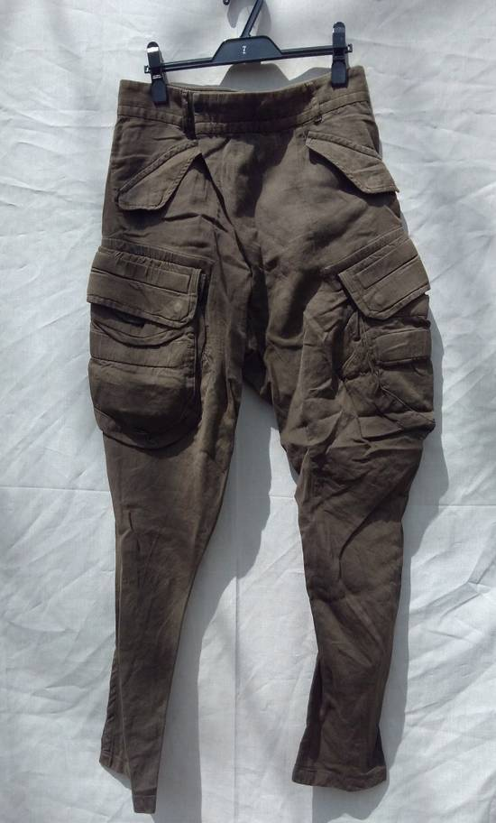 Julius Green Linen Blend Gas Mask Cargo Pants Size US 30 / EU 46
