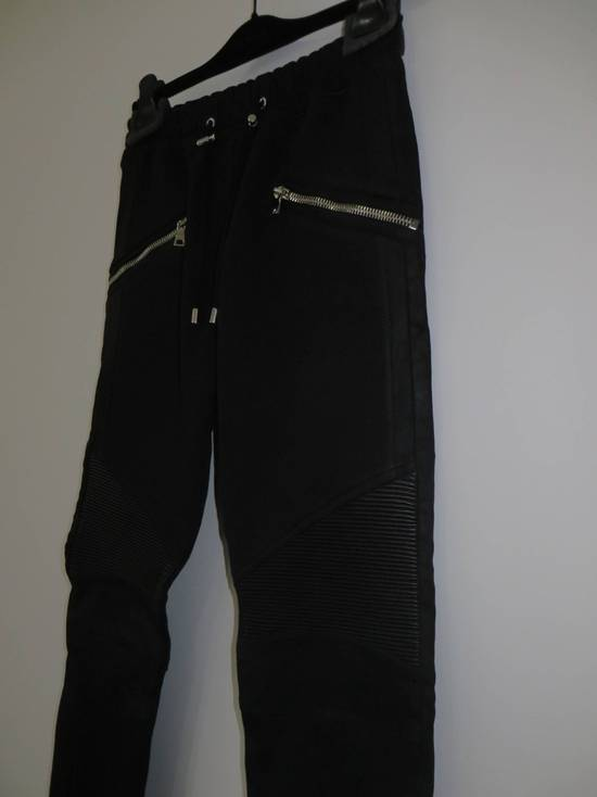 Balmain Leather and cotton biker sweatpants Size US 32 / EU 48 - 2