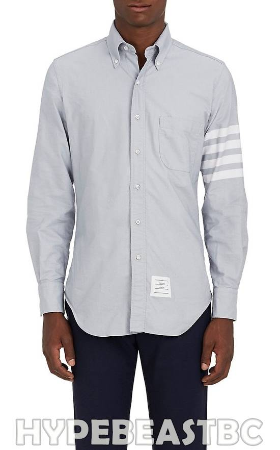 Thom Browne THOM BROWNE 4-Bar Striped Sleeve Cotton Oxford Shirt, Size 1, Gray, NWT Size US S / EU 44-46 / 1 - 4