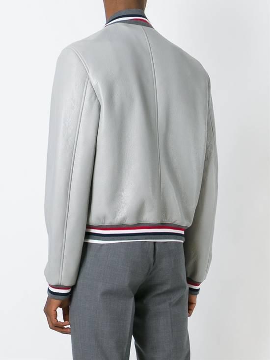 Thom Browne Thom Brown Deerskin Leather Varsity Jacket Grey Size 3 EU50 Medium RRP $3325 Size US M / EU 48-50 / 2 - 4