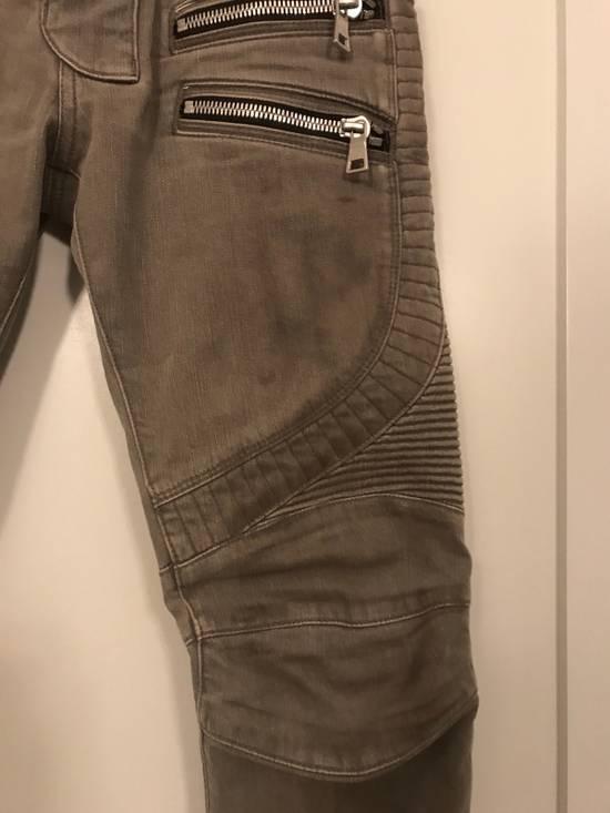 Balmain Balmain Beige Biker Rib Zip Jeans Size US 27 - 1