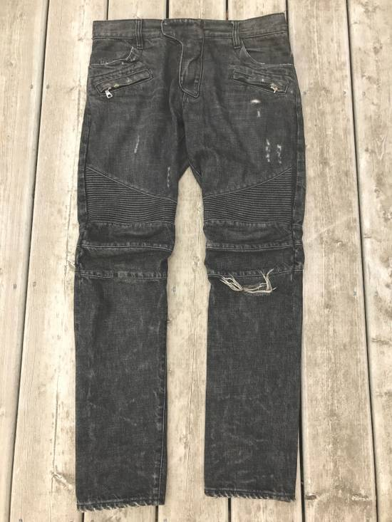 Balmain SS/11 Decarnin Era Washed Ripped Distressed Black Biker Jeans Size US 32 / EU 48