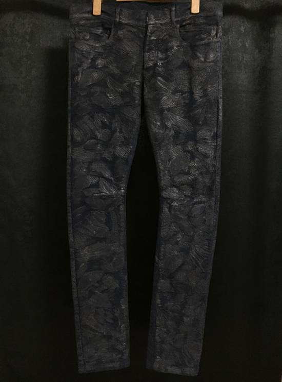 Balmain Midnight Blue Waxed Embroidered Jeans Size US 27
