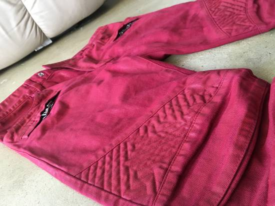 Balmain Red Coated Balmain Biker Jeans Size US 33 - 4