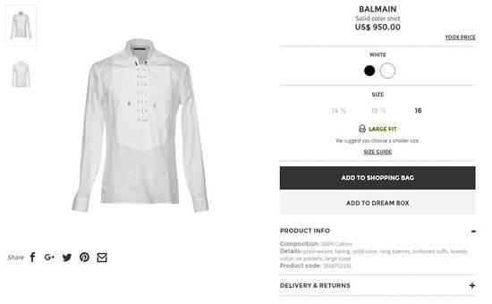 Balmain Size 39 - White Lace-Up Cotton Shirt - SS17 - $1200 Size US M / EU 48-50 / 2 - 10