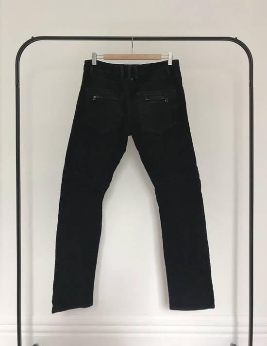 Balmain BALMAIN FW2009 Mens Black Coated Biker Denim Jeans Pants Decarnin Era Size US 32 / EU 48 - 1