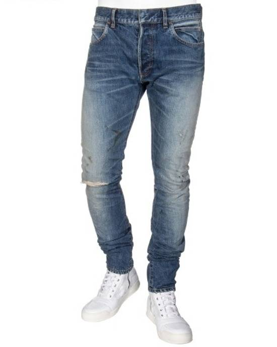 Balmain Knee Rip Blue Faded Twist Jeans(Made in Japan/15.5cm) Very Rare! Size US 29 - 6