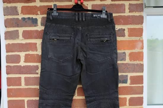 Balmain Black Waxed Biker Jeans Size US 28 / EU 44 - 6