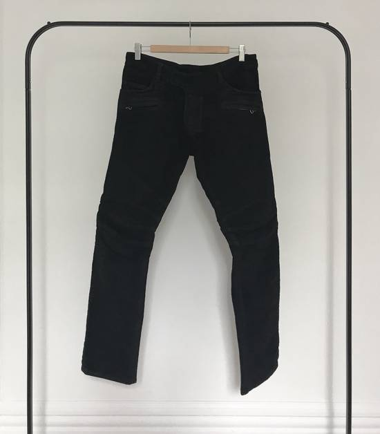 Balmain BALMAIN FW2009 Mens Black Coated Biker Denim Jeans Pants Decarnin Era Size US 32 / EU 48