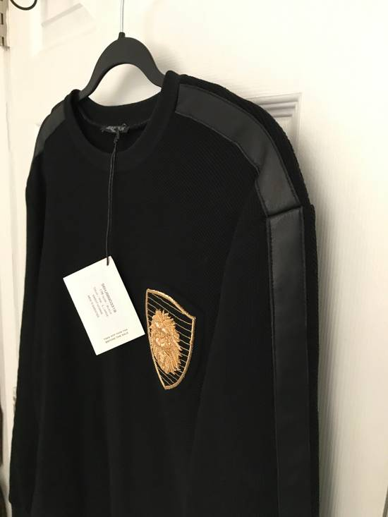 Balmain (PRICE FIRM) $1305 Balmain Leather Trimmed Cotton Floyd Mayweather Sweatshirt Size US L / EU 52-54 / 3 - 12