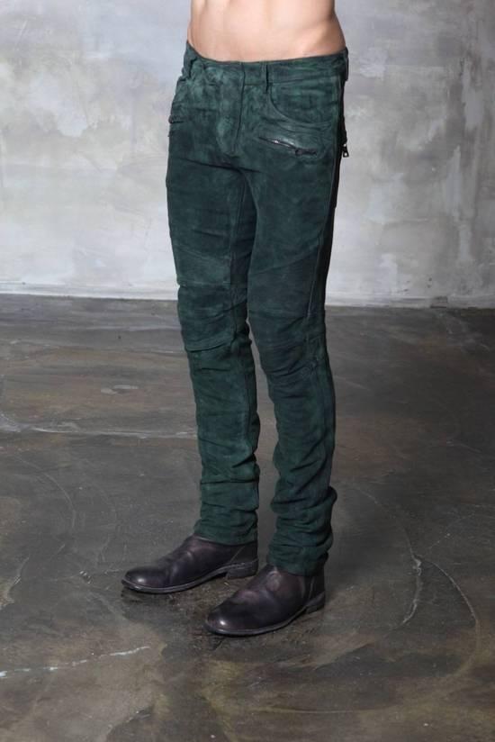 Balmain Balmain Green Lamb Suede Leather Biker Pants Size: 28-XS Size US 28 / EU 44 - 1