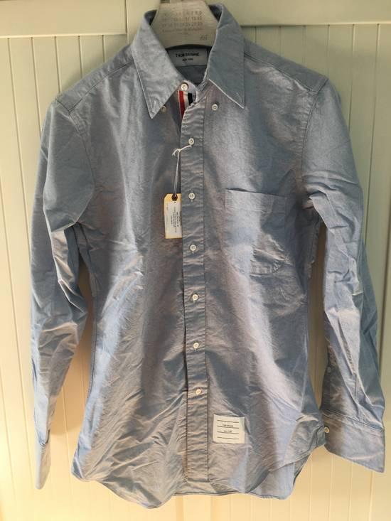 Thom Browne Light Blue Oxford Shirt w/Signature Grosgrain Placket Size US M / EU 48-50 / 2