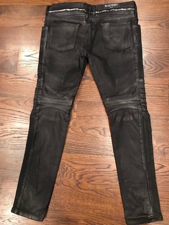 Balmain Balmain Black Waxed Biker Denim Jeans Size US 34 / EU 50 - 3