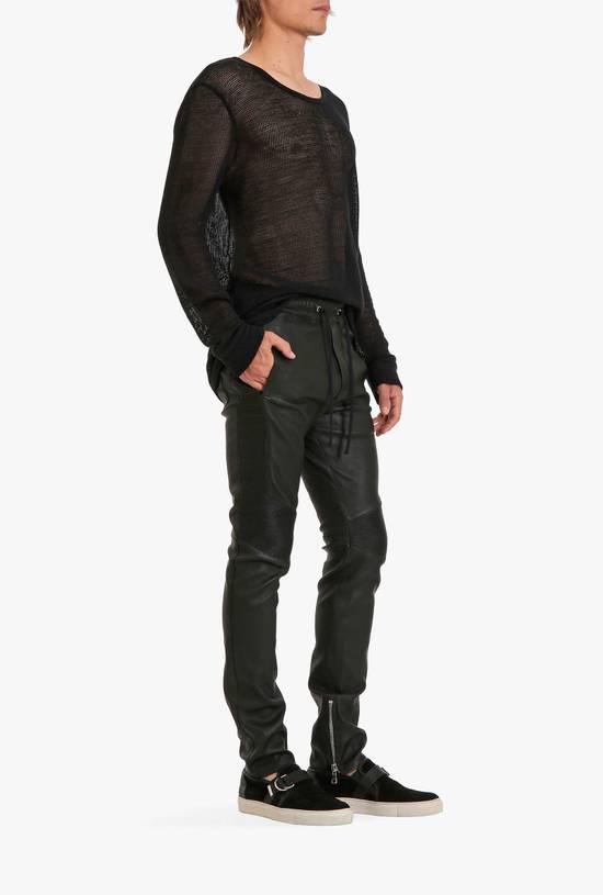 Balmain LAST DROP! Size M Fits S - Slim Fit Leather Ribbed Biker Style Sweatpants - $3100 Retail Size US 30 / EU 46 - 16