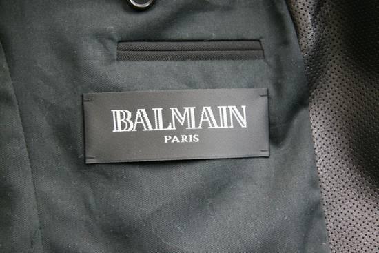 Balmain RARE $4k+ SS12 Balmain Black Perforated Leather Peak Lapel Jacket Blouson 50 48 Size 40R - 8