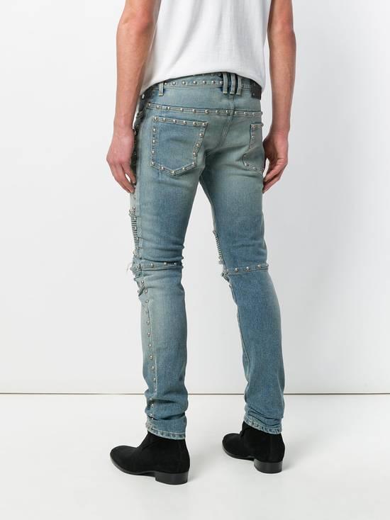 Balmain Balmain Studded Distressed Skinny Moto Jeans Size US 32 / EU 48 - 7