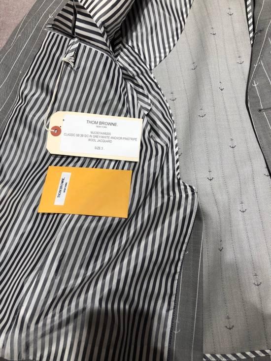Thom Browne THOM BROWNE CLASSIC BLAZER IN GRAY/WHITE ANCHOR PINSTRIPE Size 40R - 4