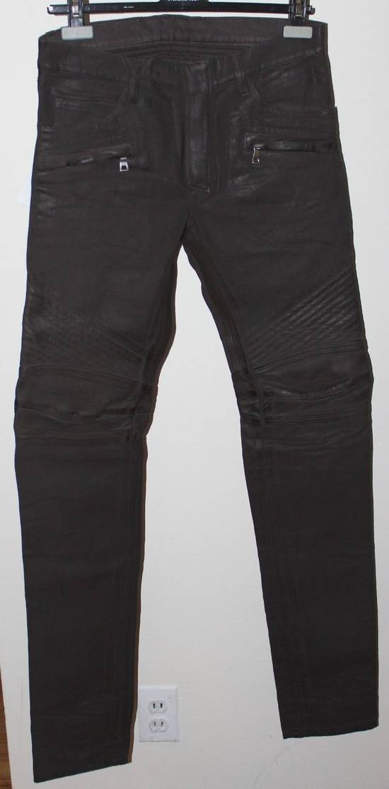 Balmain Balmain Waxed Moto Biker Jeans Leather Trim Size 29 BNWT Dark Brown Denim $2,295 Size US 29
