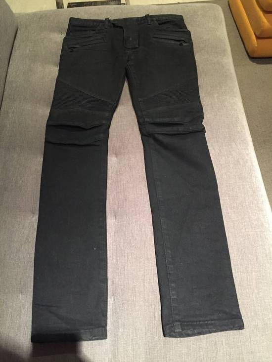 Balmain Black Waxed Biker Jeans Size US 30 / EU 46 - 2