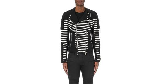 Balmain Stripped cotton biker jacket Size US XXL / EU 58 / 5 - 2