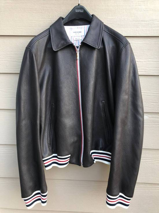 Thom Browne NEW WITH TAG, Striped Detail Leather Jacket (SIZE 4 - FITS SMALLER) Size US XL / EU 56 / 4 - 3