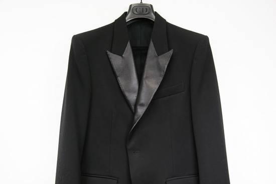 Balmain RARE $4k+ SS12 Balmain Black Perforated Leather Peak Lapel Jacket Blouson 50 48 Size 40R