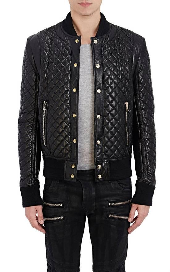 Balmain Balmain Quilted Leather Bomber Varsity Jacket Size 50 Black FW16/17 Brand New $5245 Size US M / EU 48-50 / 2