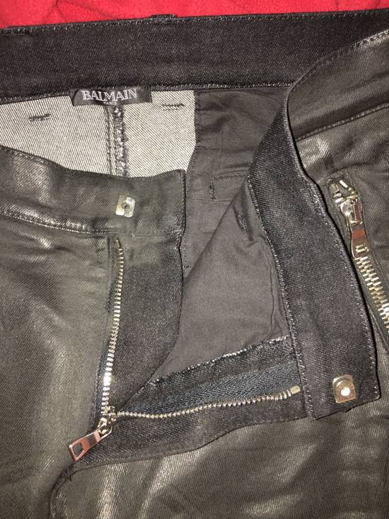 Balmain Coated Skinny Biker Jeans Size US 33 - 3