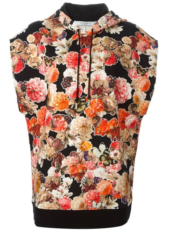 Givenchy $1050 Givenchy Floral and Butterfly Print Rottweiler Oversized Sleeveless Hoodie Top size S (M / L) Size US S / EU 44-46 / 1 - 1