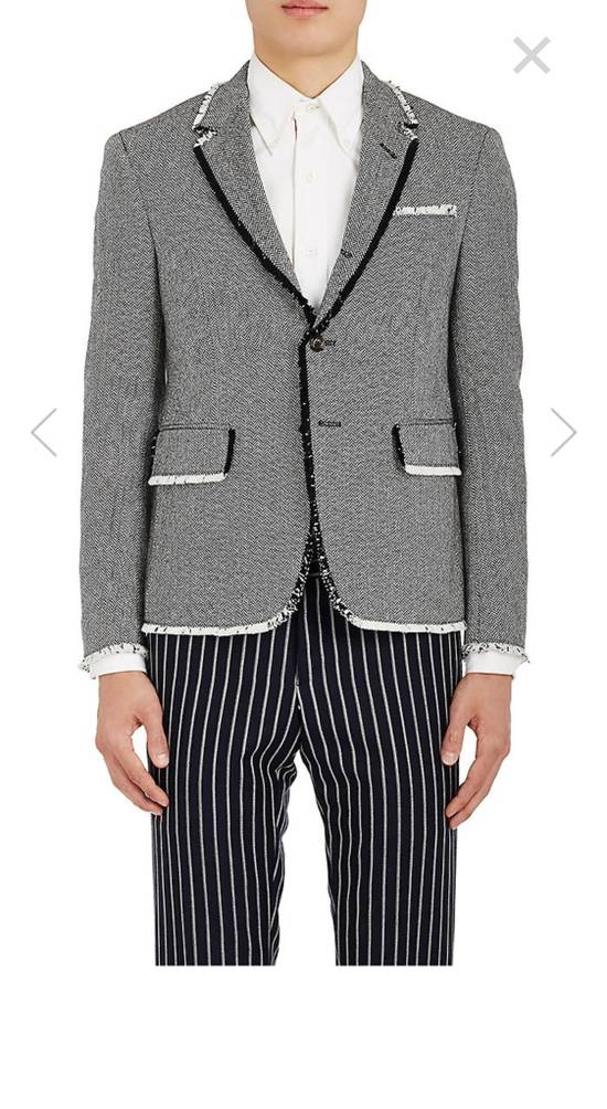 Thom Browne Frayed Wool High Arm Sportcoat Grosgrain Pattern Size 34R