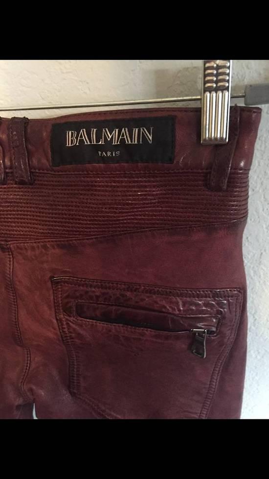 Balmain Balmain Burgundy Lamb Leather Biker Pants Size: 28-XS Size US 28 / EU 44 - 7