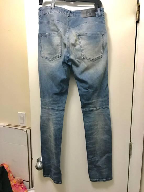 Balmain Pierre Balmain Blue Distressed Biker Jeans Size US 31 - 1