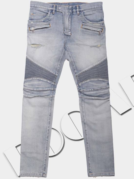 Balmain 1565$ Skinny Light Blue Distressed Biker Jeans Size US 30 / EU 46