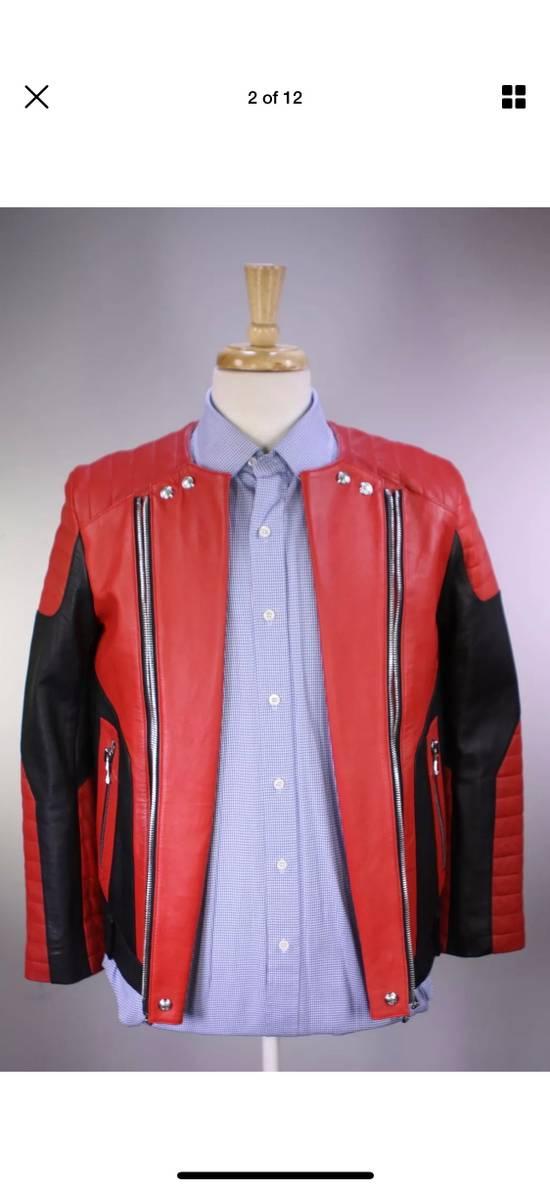 Balmain H&M x Balmain Red Leather Biker Jacket Size US S / EU 44-46 / 1 - 1