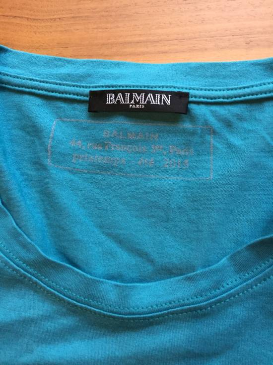 Balmain Light Blue Balmain Tee with White Crest Size US L / EU 52-54 / 3 - 2