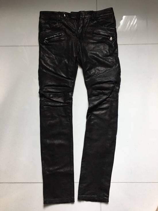Balmain Leather Biker Jeans Size US 32 / EU 48 - 1