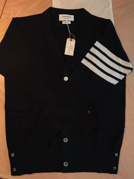 Thom Browne Navy Merino Wool Classic 4 Bar Cardigan Size US M / EU 48-50 / 2 - 6