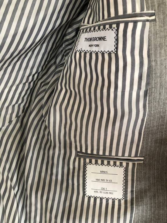 Thom Browne THOM BROWNE FLEECE SUIT IN LT. GRAY/WHITE PINSTRIPE (NEW & UNTAILORED) Size 40R - 3