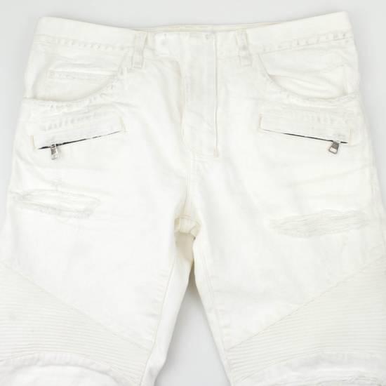 Balmain White Cotton Denim Distressed Biker Jeans Pants Size US 34 / EU 50 - 2