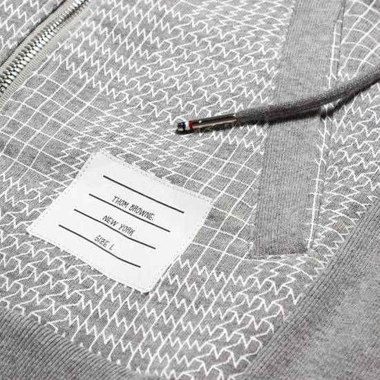 Thom Browne GRAY PRINTED FRENCH TERRY KNIT ZIP-UP HOODIE Size US S / EU 44-46 / 1 - 1