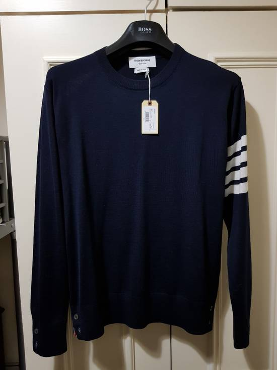 Thom Browne THOM BROWNE CREWNECK PULLOVER WITH 4-BAR STRIPE IN NAVY MERINO Size US M / EU 48-50 / 2
