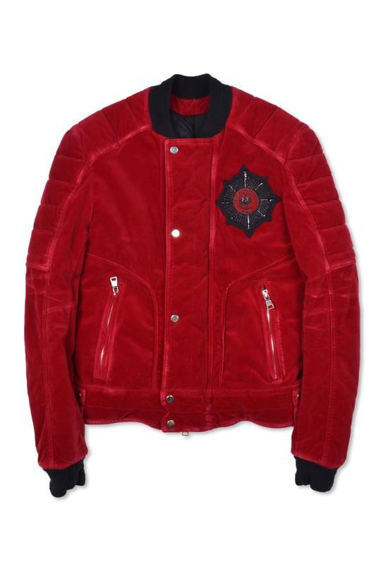 Balmain Badge Embellished Red Velvet Bomber Size US S / EU 44-46 / 1