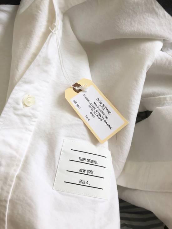 Thom Browne CLASSIC SHIRT W/PRINTED DIAGONAL STRIPE IN OXFORD WHITE Size US XS / EU 42 / 0 - 3