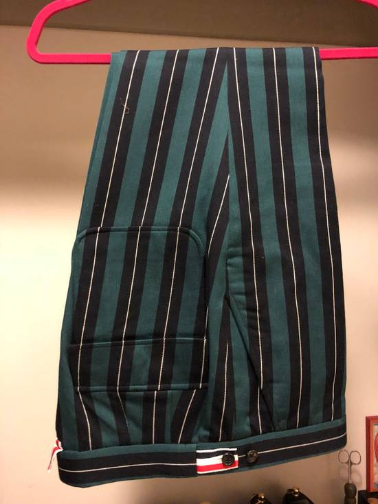 Thom Browne Thom Browne Pinstripe Trousers With Flappy Back Pockets And Cashmere Leg Warmer Size US 30 / EU 46