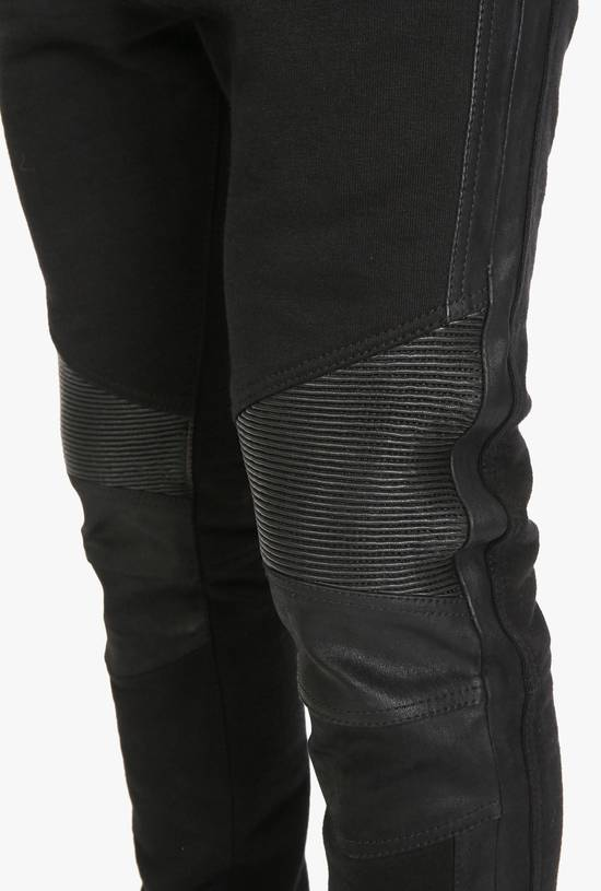 Balmain Leather and cotton biker sweatpants Size US 32 / EU 48 - 13